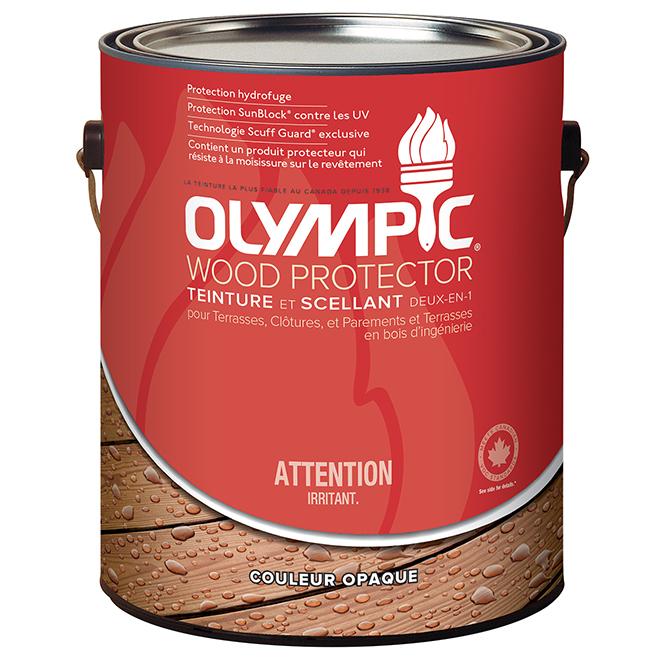 Teinture et scellant d'extérieur pour bois Olympic, opaque, base 2, 3,78 l