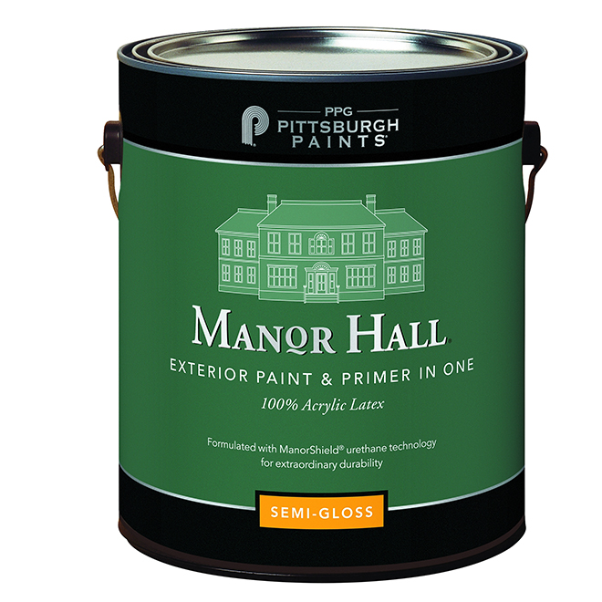 MANOR HALL Exterior Latex Paint/Primer-Super White -Semi-Gloss
