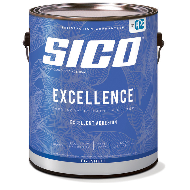 SICO Excellence Interior Paint and Primer - 100% Acrylic - Eggshell Finish - 3.78-L - White
