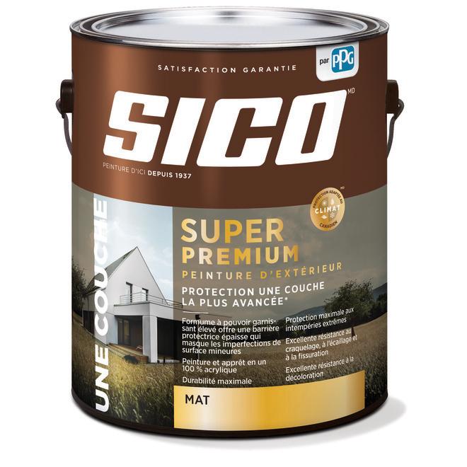 Peinture et apprêt d'extérieur SICO Super Premium 100 % acrylique, fini mat, 3,78 l, base 1