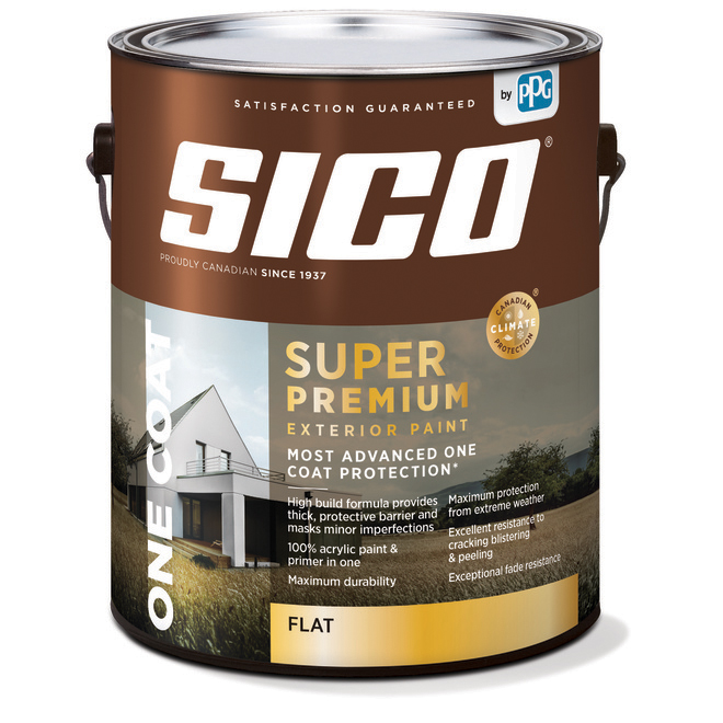 SICO Super Premium Exterior Paint and Primer - 100% Acrylic - Flat Finish - 3.78-L - Base 2