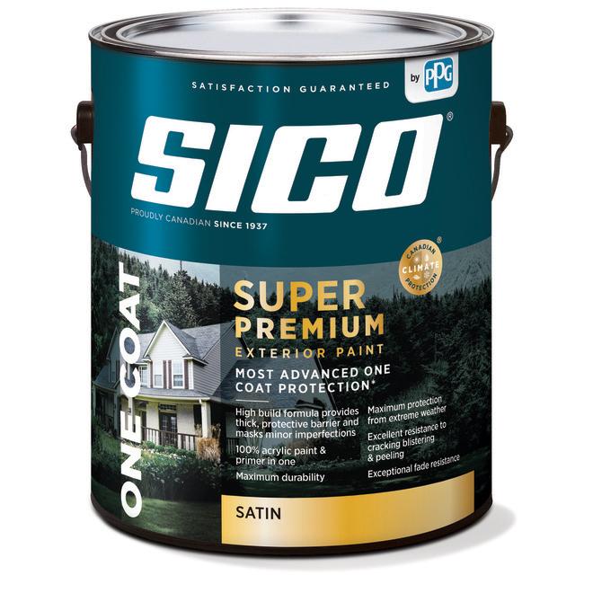SICO Super Premium Exterior Paint and Primer - 100% Acrylic - Pearl Finish - 3.78-L - Base 2