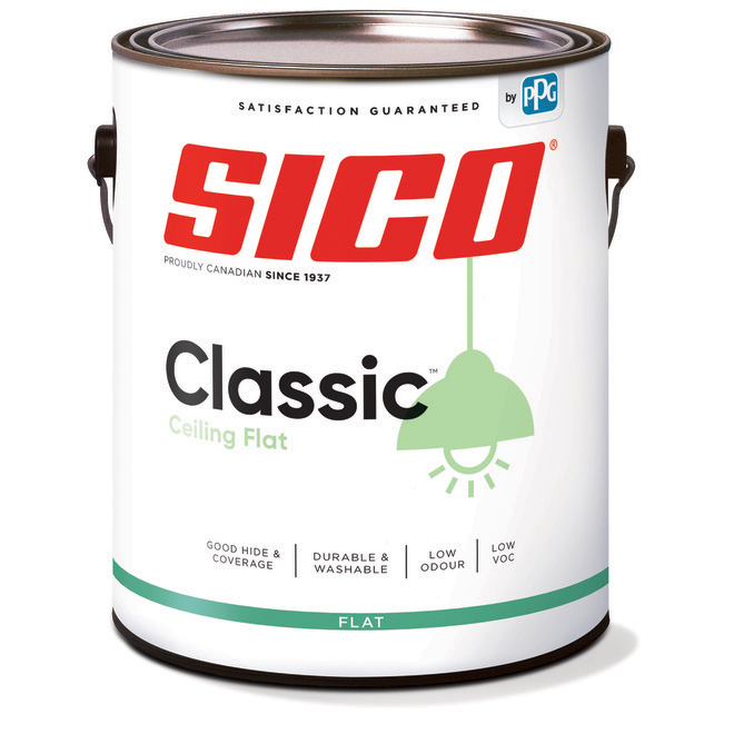 SICO Classic Interior Paint for Ceilings - Latex - Matte Finish - 3.78-L - White