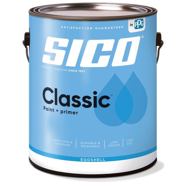 SICO Classic Interior Paint/Primer for Kitchen and Bathroom - Latex - Eggshell - 946-ml - Medium Base