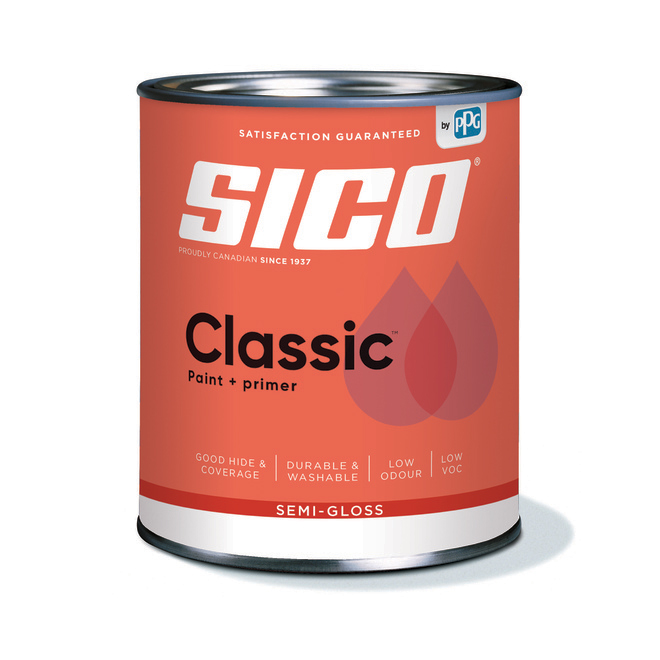SICO Classic Interior Paint and Primer - Latex - Semi-Gloss Finish - 946-ml - Neutral Base