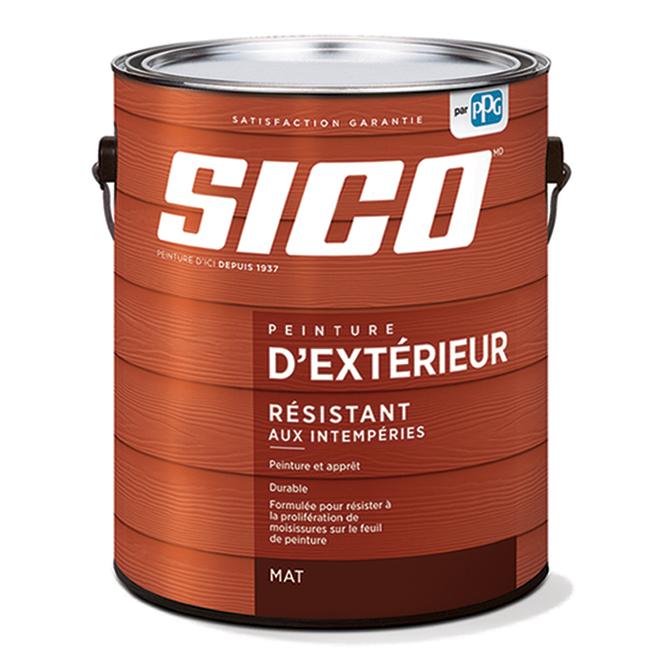 Peinture et apprêt d'extérieur SICO en latex, fini mat, 3,78 l, blanc