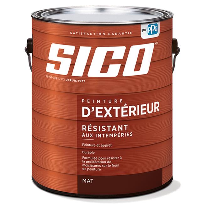 Peinture et apprêt d'extérieur SICO en latex, fini mat, 3,78 l, base neutre