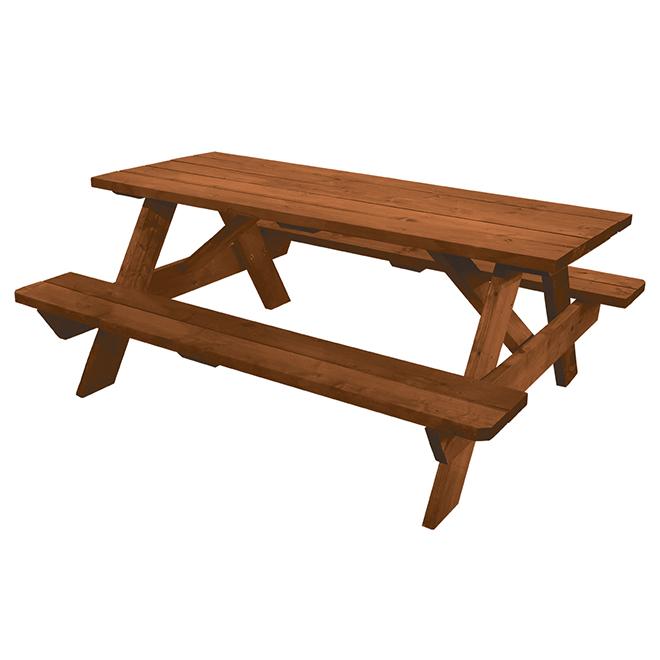"""Table à pique-nique « Terra » en bois traité, 12"""" x 33"""" x 72"""""""