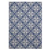 Tapis de coton, 140 cm  x  200 cm, bleu/blanc