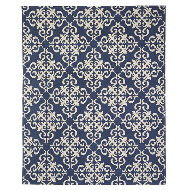 Cotton Mat - 180 cm x 220 cm - Blue/White
