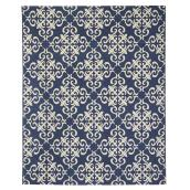 Tapis de coton, 180 cm  x  220 cm, bleu/blanc