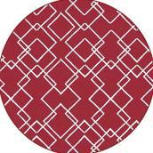 Tapis d'extérieur rond, modèle « Azufre/géo », 6', rouge