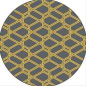 Tapis d'extérieur rond, modèle « Glenapp », 6', jaune/gris