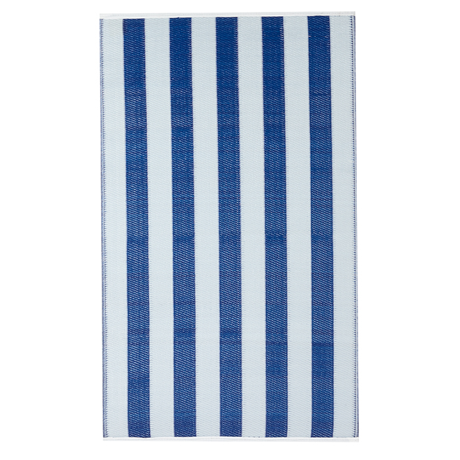 "Outdoor Rug - ""Couston"" Model - 35"" X 59"" - Navy/White"