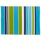 Tapis d'extérieur réversible Studio, Heuwel, 59 po x 84 po, rayé bleu et vert