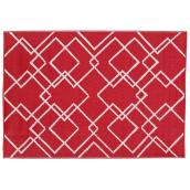 "Outdoor Rug - ""Azufre/Geo"" Model - 59"" X 84"" - Red"