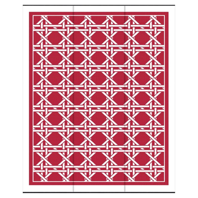 "Outdoor Rug - ""Hermitage"" Model - 8.8' X 12' - Red/White"