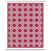Tapis d'extérieur, modèle « Hermitage », 8,8' X 12', rouge/blanc