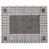 Tapis intérieur Korhani Home, méandre, 8' x 10', gris argent
