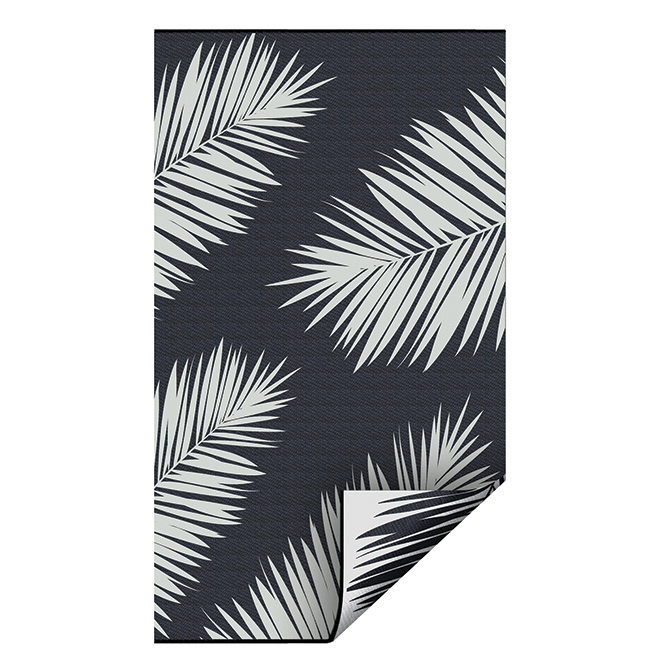 Tapis extérieur réversible, plastique, 3' x 5', noir/blanc