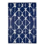 Reversible Outdoor Rug - Plastic - 5' x 7' - Navy and White