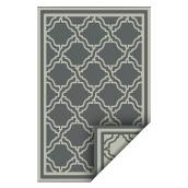 Reversible Outdoor Rug - Plastic - 5' x 7' - Grey and White