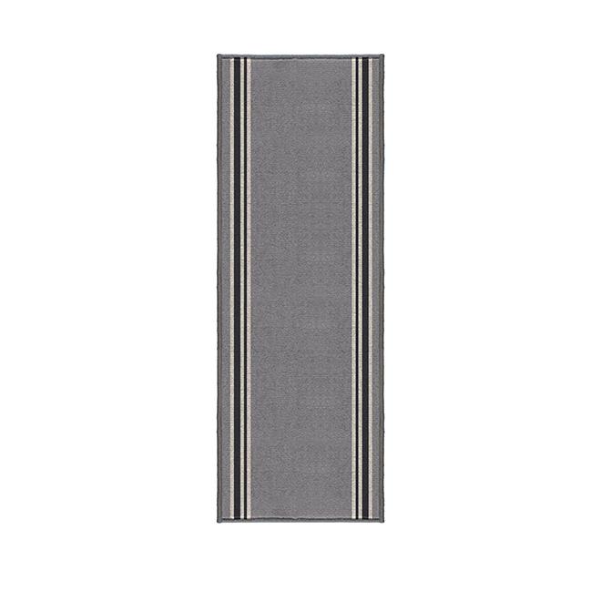 "Scalloway Carpet Runner - 26"" - Polypropylene - Grey/Black"