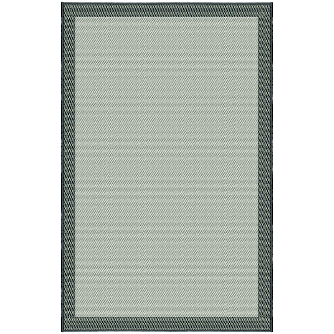 Korhani Nova Outdoor Rug - 6-ft x 8-ft - Polypropylene - Cream and Charcoal