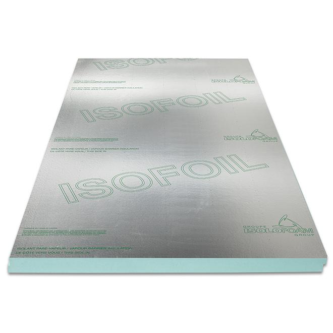 Panneau isolant pare-vapeur Isofoil d'Isolofoam, polystyrène expansé, 100 po x 48 po x 3 po, vert