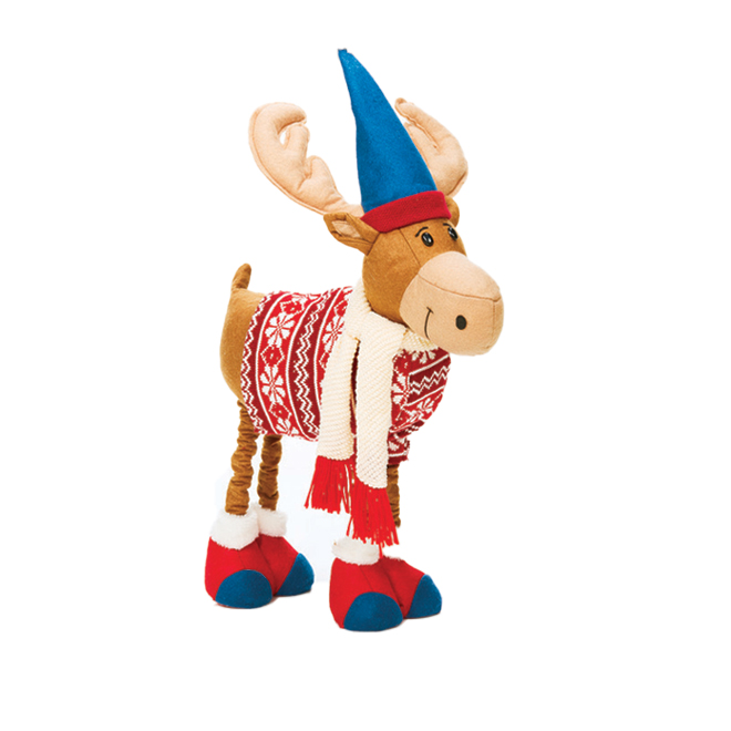 "Height-Adjustable Holiday Moose - 20"" - Fabric - Red/Blue"