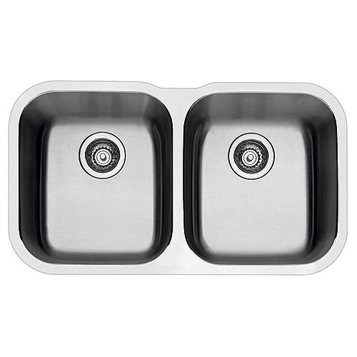 Blanco Essential Double Kitchen Sink - Undermount - 17.3-in x 30.6-in - Stainless Steel