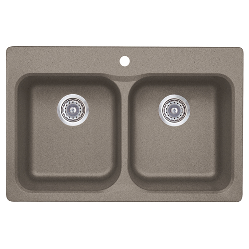 """Silgranit Vision 210"" Double Kitchen Sink - Truffle"