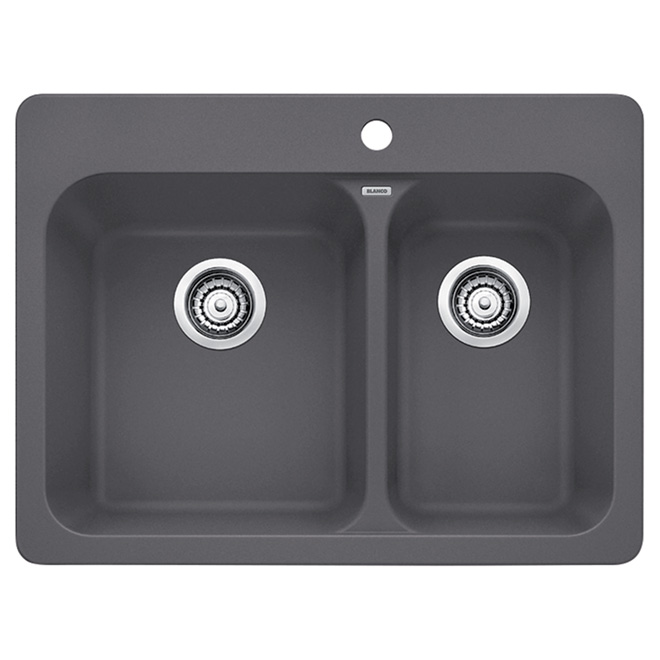 """Silgranit Vision 1.5"" Kitchen Sink, Cinder"