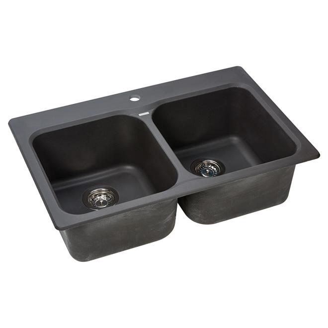"Double Sink - ""Silgranite"" - Top/Under - 31 1/2""- Cinder"