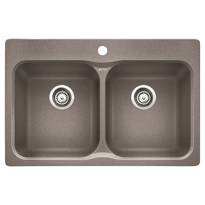 """Silgranit Vision"" Double Sink -Top/Under - 31 1/2"" - Grey"
