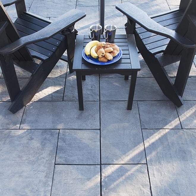 Dalle de patio style Ardoise - 12 po x 12 po - Gris
