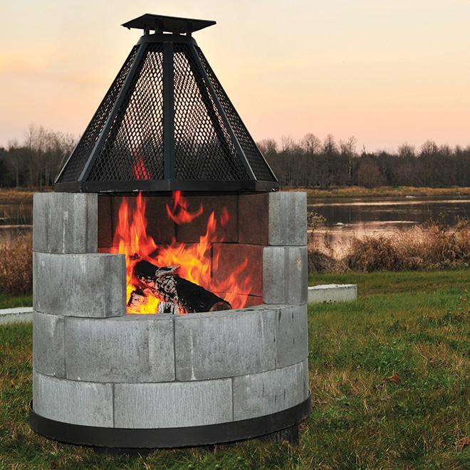Patio Drummond Steel Fireguard - 13.63-in x 27-in x 27-in - Black