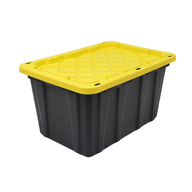 GSC Technology Sturdy Storage Box - 102-Litre - Plastic - Black and Yellow
