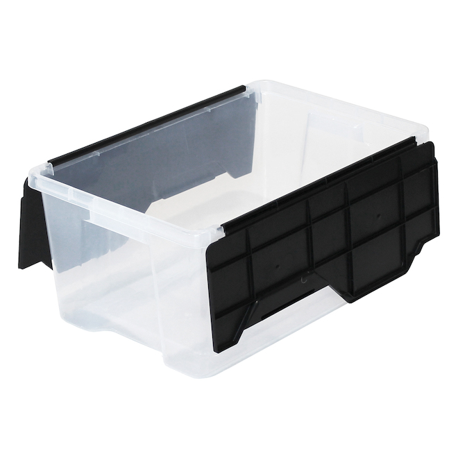 Boîte de rangement à couvercle rabattable GSC Technology, plastique, 25 litres