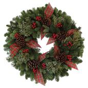 Natural Wreath with Berries and Bows - 22-in