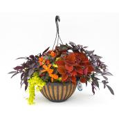 Arrangement floral assorti, jardinière suspendue décorative de 16 po
