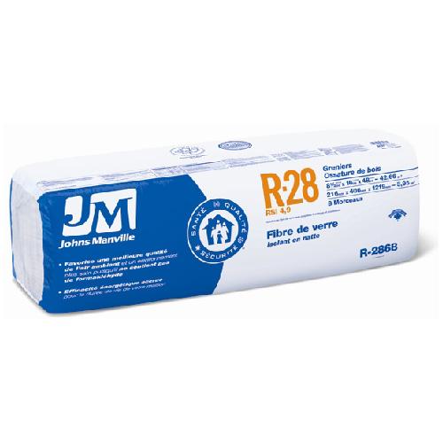 Isolant thermorésistant Johns Manville, R28, 5,32 pi2, nu, fibre de verre, exempt de formaldéhyde