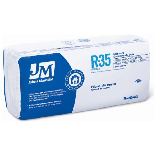 Isolant en fibre de verre R35 Johns Manville, 8 pi2, nu, exempt de formaldéhyde, installation au plafond