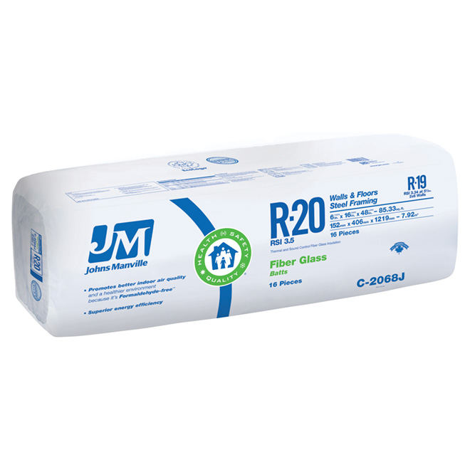 Johns Manville Fibreglass Building Insulation - R20 - 85.33-sq. ft. - Pack of 16 - Walls and Floors