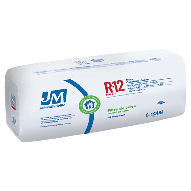 Isolant en natte à résistance thermique R12 Johns Manville, nu, RSI 2,1, murs 2 x 6