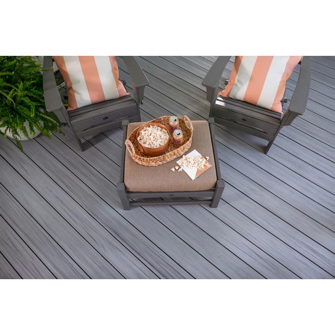 Planche de terrasse composite, 1 x 6 po x 12 pi, quai brumeux