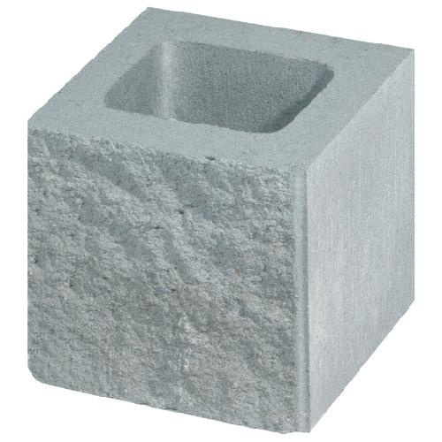 Bloc de béton éclaté, carré, 8'' x 8'' x 8'', gris