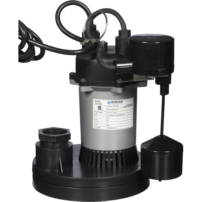 Pompe à puisard submersible, 1/2 cv, 115 V