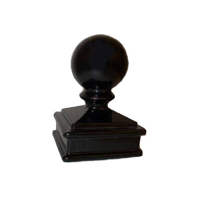 """Capuchon de poteau carré, sphère, 2"""", aluminium, noir"""
