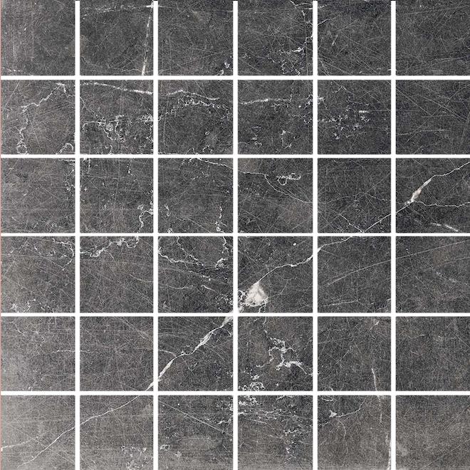 Tuiles de porcelaine American Villa nervurées de 12 po x 12 po, 9,68 pi², noires, 10/bte